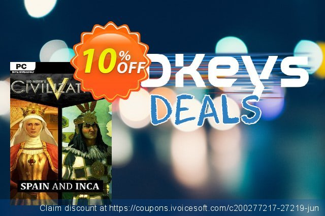 Civilization V Civ and Scenario Double Pack Spain and Inca PC discount 10% OFF, 2020 Year-End offering sales