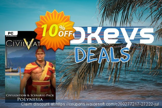 Civilization V Civ and Scenario Pack Polynesia PC discount 10% OFF, 2020 Black Friday offering sales