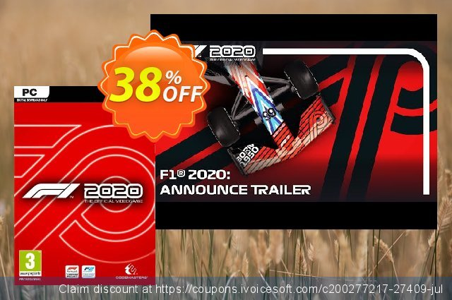 F1 2020 PC discount 38% OFF, 2020 Thanksgiving offering sales