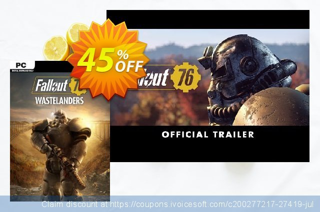 Fallout 76: Wastelanders PC (US/CA) discount 58% OFF, 2021 Spring offering sales