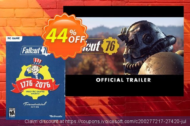 Fallout 76 Tricentennial Edition PC (US/CA) discount 44% OFF, 2020 Black Friday offer