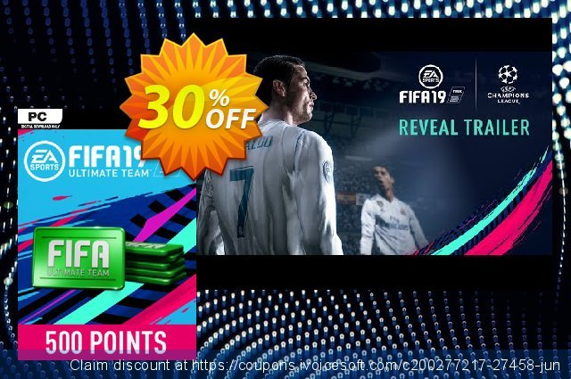 FIFA 19 - 500 FUT Points PC discount 30% OFF, 2021 January offering sales