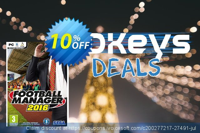 Football Manager 2016 PC/Mac discount 10% OFF, 2020 Thanksgiving Day offering sales