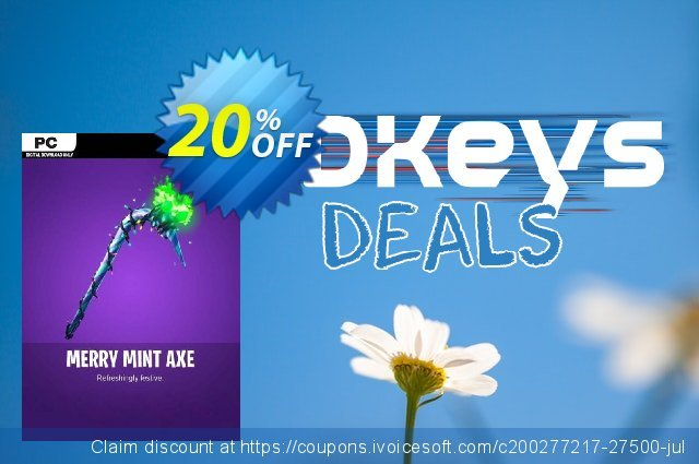 Fortnite Merry Mint Pick Axe PC discount 20% OFF, 2020 Halloween offering sales