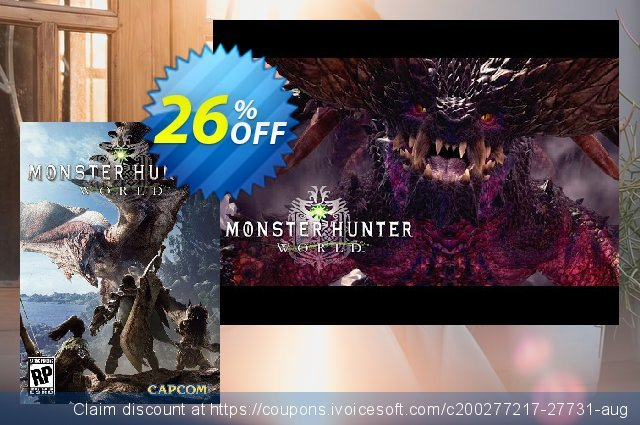 Monster Hunter World PC + DLC discount 26% OFF, 2020 Back to School offer promo sales
