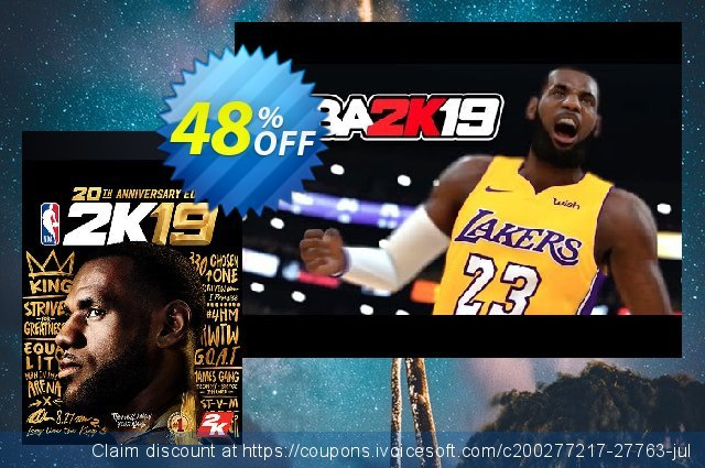 NBA 2K19 20th Anniversary Edition PC discount 10% OFF, 2021 New Year offering sales