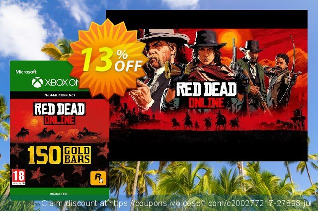 Red Dead Online: 150 Gold Bars Xbox One discount 11% OFF, 2020 Christmas & New Year offering deals