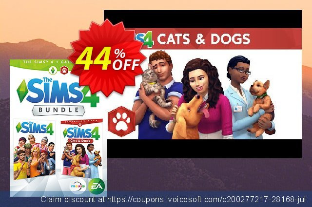 The Sims 4 - Cats and Dogs Expansion Bundle PC/Mac discount 44% OFF, 2020 Thanksgiving offering sales