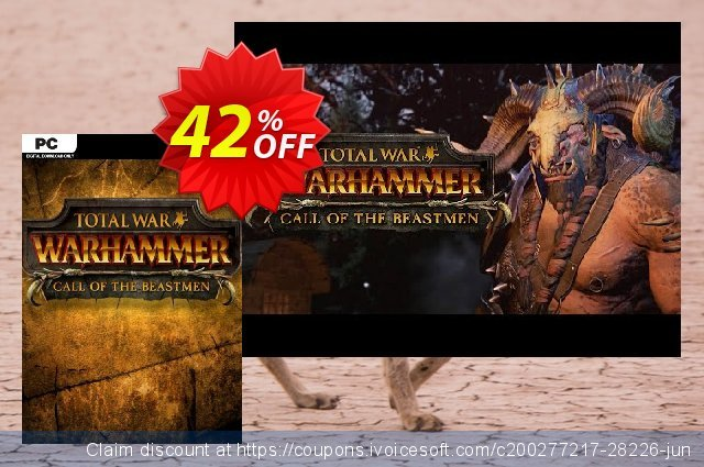 Total War WARHAMMER – Call of the Beastmen Campaign Pack DLC discount 42% OFF, 2020 End year offering sales