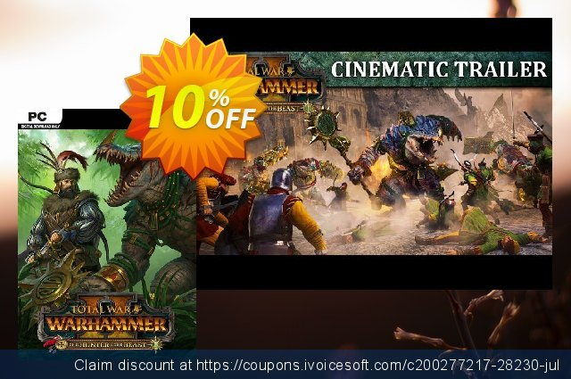 Total War: WARHAMMER II 2 PC - The Hunter & The Beast DLC (US) discount 10% OFF, 2020 Black Friday offering sales