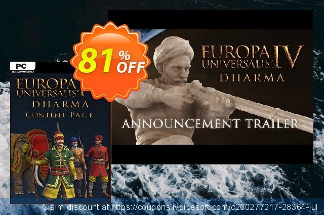 Europa Universalis IV 4 Dharma Content Pack PC discount 67% OFF, 2020 Thanksgiving Day offering sales