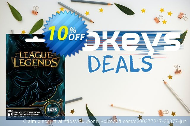 League of Legends: 1475 Riot Points Card discount 10% OFF, 2021 New Year's Weekend promotions