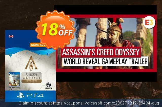 Assassins Creed Odyssey - Season Pass PS4 discount 18% OFF, 2020 Black Friday offering sales