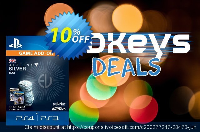 Destiny Silver 500 PS3/PS4 discount 10% OFF, 2021 World Population Day discount. Destiny Silver 500 PS3/PS4 Deal
