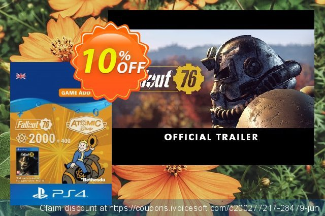 Fallout 76 - 2400 Atoms PS4 discount 10% OFF, 2020 Black Friday offering sales