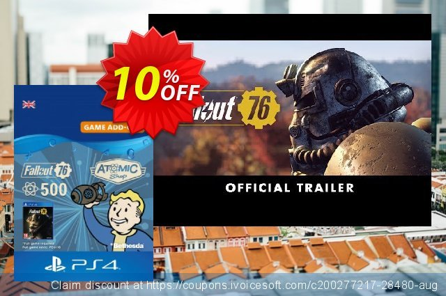 Fallout 76 - 500 Atoms PS4 discount 10% OFF, 2020 Thanksgiving discounts