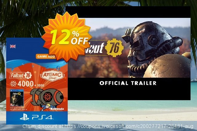 Fallout 76 - 5000 Atoms PS4 discount 12% OFF, 2020 Thanksgiving Day promotions