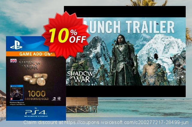 Middle-Earth: Shadow of War - 1050 Gold PS4 discount 10% OFF, 2020 Thanksgiving Day discounts