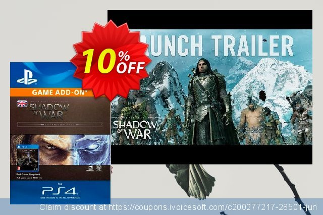 Middle-Earth: Shadow of War Expansion Pass PS4 discount 10% OFF, 2020 Thanksgiving sales