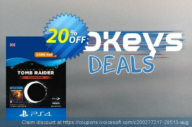 Shadow of the Tomb Raider - Season Pass PS4 discount 20% OFF, 2021 New Year's Day offer