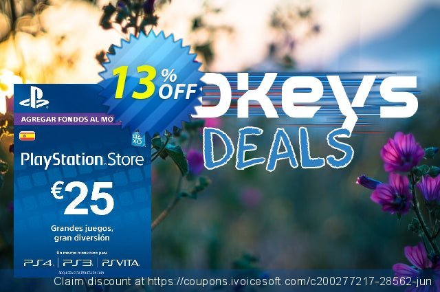 PlayStation Network (PSN) Card - 25 EUR (Spain) discount 14% OFF, 2020 Thanksgiving Day offering discount