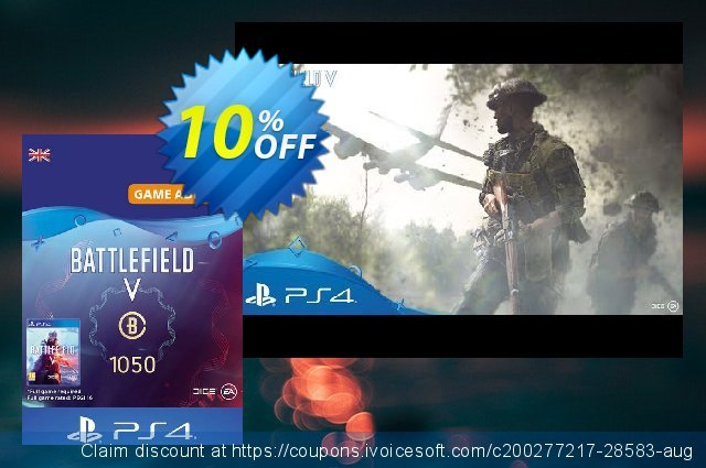 Battlefield V 5 - Battlefield Currency 1050 PS4 (UK) discount 10% OFF, 2021 New Year's Day offering sales