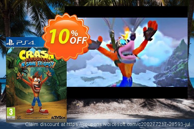 Crash Bandicoot N. Sane Trilogy PS4 discount 10% OFF, 2020 Halloween offering sales