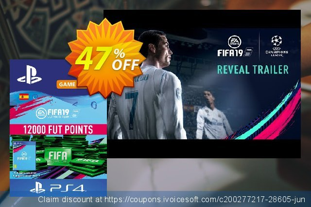 Fifa 19 - 12000 FUT Points PS4 (Spain) discount 47% OFF, 2021 Summer offering sales. Fifa 19 - 12000 FUT Points PS4 (Spain) Deal