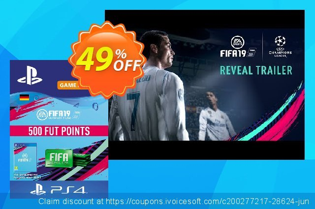Fifa 19 - 500 FUT Points PS4 (Germany) discount 49% OFF, 2020 Halloween promo