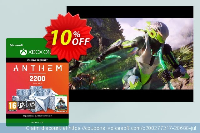 Anthem 2200 Shards Pack Xbox One discount 10% OFF, 2020 College Student deals offering sales