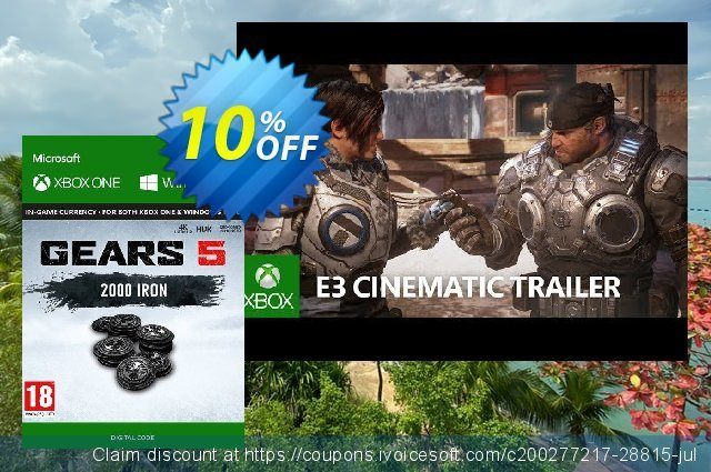 Gears 5: 2000 Iron + 250 Bonus Iron Xbox One discount 10% OFF, 2020 College Student deals promo