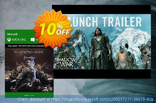 Middle-Earth: Shadow of War Xbox One / PC discount 10% OFF, 2021 Summer offering sales. Middle-Earth: Shadow of War Xbox One / PC Deal