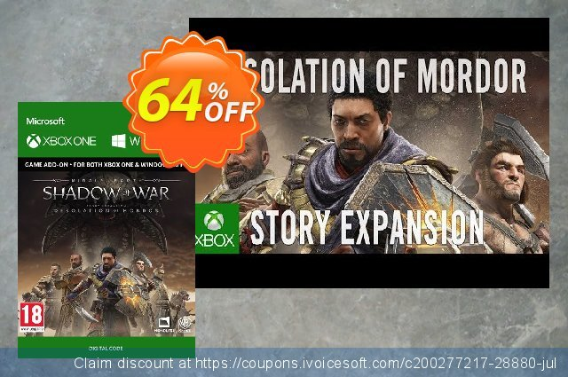 Middle-Earth Shadow of War - The Desolation of Mordor Expansion Xbox One/PC 激动的 产品销售 软件截图