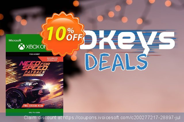 Need for Speed Payback Deluxe Edition Upgrade Xbox One discount 10% OFF, 2021 Plastic Bag Free Day offering sales. Need for Speed Payback Deluxe Edition Upgrade Xbox One Deal