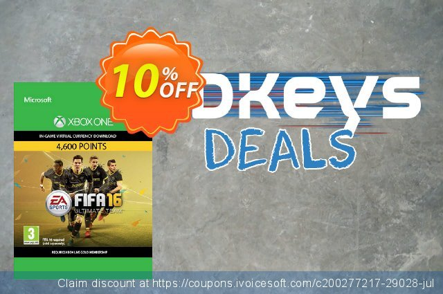 Fifa 16 - 4600 FUT Points (Xbox One) discount 10% OFF, 2020 Back to School promo offering sales