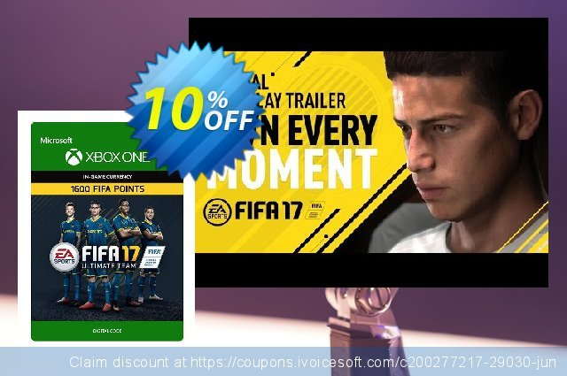 Fifa 17 - 1600 FUT Points (Xbox One) discount 10% OFF, 2020 Halloween offering sales