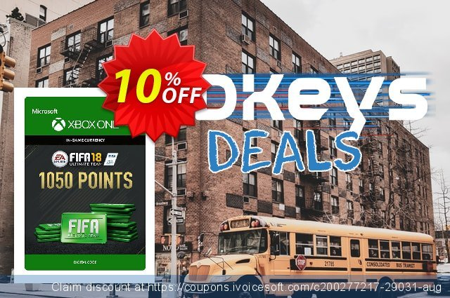 Fifa 18 - 1050 FUT Points (Xbox One) discount 10% OFF, 2021 New Year's Day promo sales