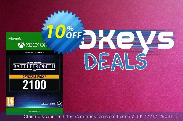 Star Wars Battlefront 2: 2100 Crystals Xbox One discount 10% OFF, 2020 University Student offer promo sales