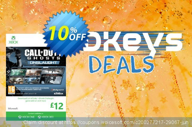 Xbox Live 12 GBP Gift Card: Call of Duty Ghosts Onslaught (Xbox 360) discount 10% OFF, 2020 Halloween offering sales