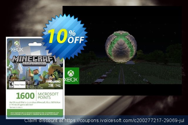Xbox Live 1600 Microsoft Points for Minecraft: Xbox 360 Edition discount 10% OFF, 2020 Back to School promotion offering sales