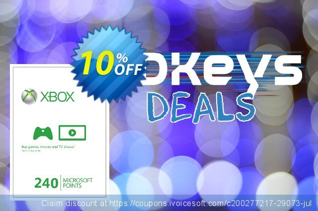 Xbox Live 240 Microsoft Points (Xbox 360) discount 10% OFF, 2020 Back to School deals sales