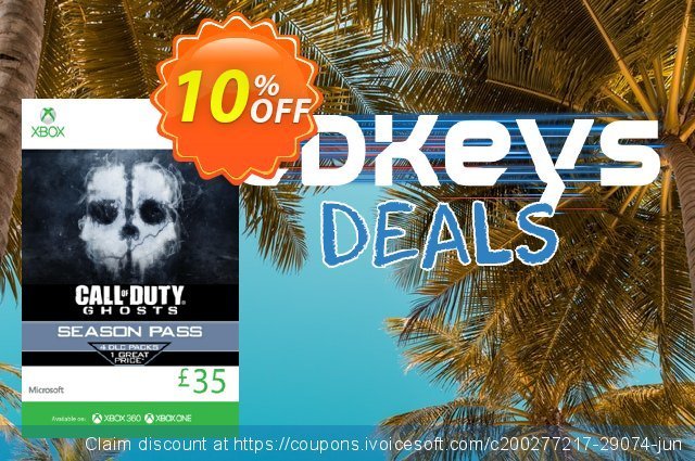 Xbox Live 35 GBP Gift Card: Call of Duty Ghosts Season Pass (Xbox 360/One) discount 10% OFF, 2020 Back to School shopping deals