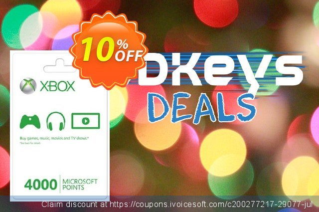 Xbox Live 4000 Microsoft Points (Xbox 360) discount 10% OFF, 2020 Back to School season offering discount