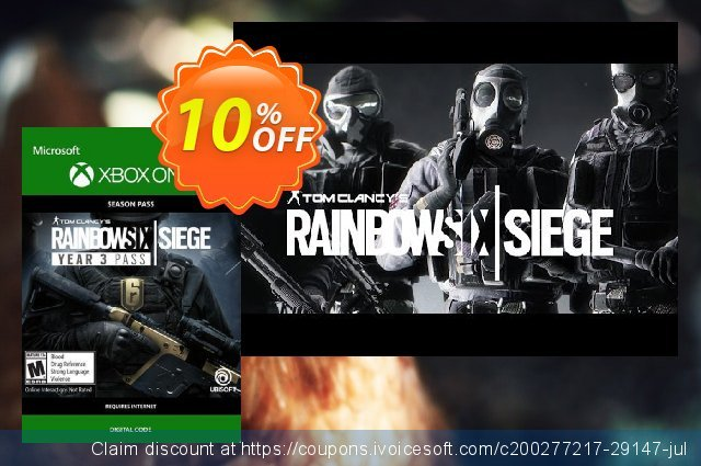 Tom Clancys Rainbow Six Siege: Year 3 Pass Xbox One discount 10% OFF, 2020 Teacher deals discounts