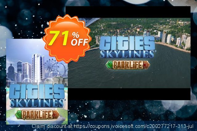 Cities Skylines PC - Parklife DLC discount 76% OFF, 2021 Mother's Day offering sales. Cities Skylines PC - Parklife DLC Deal