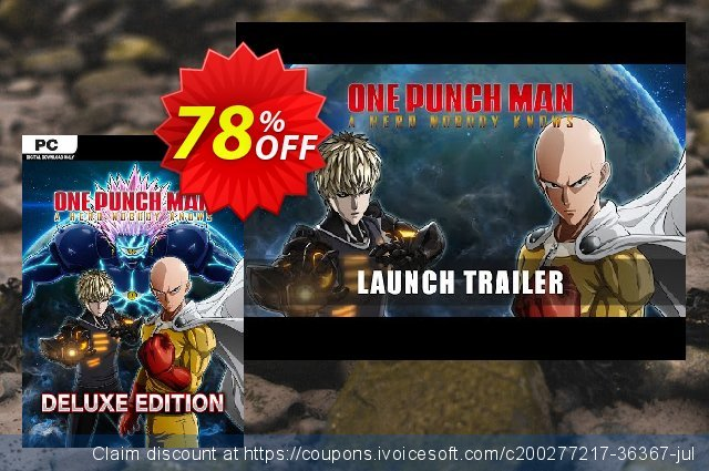 One Punch Man: A Hero Nobody Knows - Deluxe Edition PC (EU) discount 78% OFF, 2021 Halloween promotions. One Punch Man: A Hero Nobody Knows - Deluxe Edition PC (EU) Deal 2021 CDkeys
