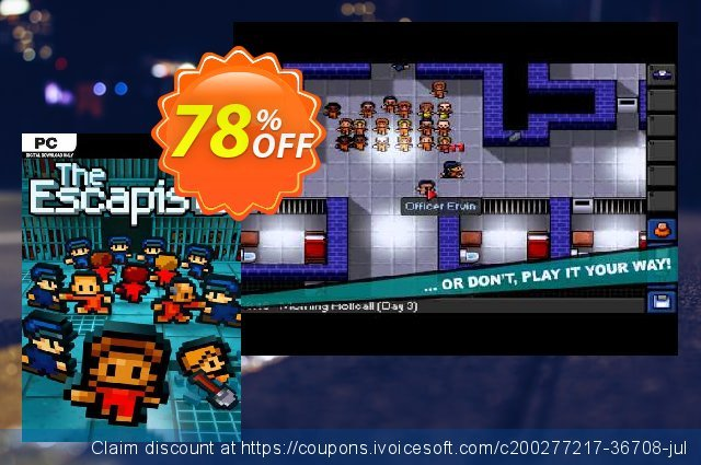 The Escapists PC discount 81% OFF, 2021 Mother Day offering sales. The Escapists PC Deal 2021 CDkeys