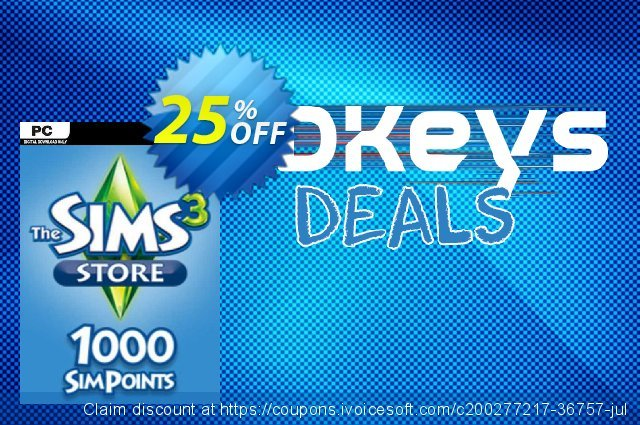 The Sims 3 - 1000 SimPoints PC discount 25% OFF, 2021 Mother's Day offering discount. The Sims 3 - 1000 SimPoints PC Deal 2021 CDkeys