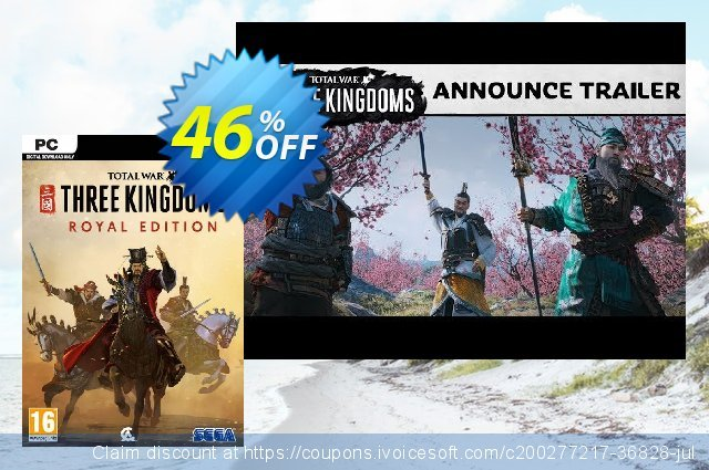 Total War: Three Kingdoms Royal Edition PC (WW) discount 62% OFF, 2021 Mother Day promotions. Total War: Three Kingdoms Royal Edition PC (WW) Deal 2021 CDkeys