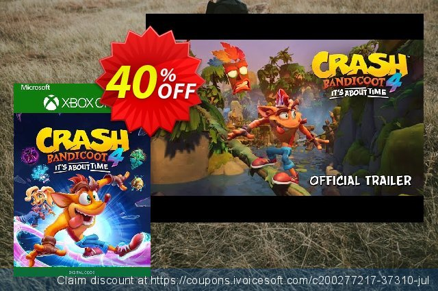 Crash Bandicoot 4: It's About Time Xbox One (UK) discount 40% OFF, 2021 World Environment Day promo sales. Crash Bandicoot 4: It's About Time Xbox One (UK) Deal 2021 CDkeys